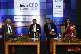 Moderating panel at CFO Summit, Trident, Mumbai